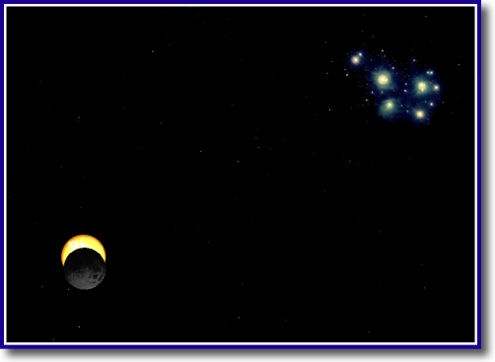 Simulation: The Moon eclipsing the Sun near the the Pleiades at 6 PM 2012-05-20